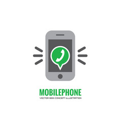 mobile phone and green speak bubble vector image