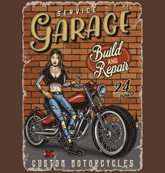 Motorcycle garage service vintage poster vector