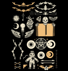 occultism set with pentagram voodoo doll human vector image