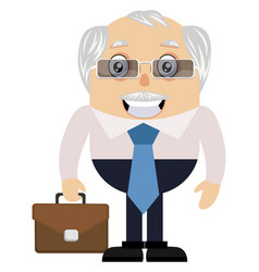 old man with suitcase on white background vector image