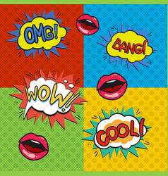 pop art logos set vector image