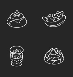 Popular sweets chalk white icons set on black vector