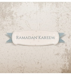 Ramadan Kareem paper Banner with greeting Ribbon vector