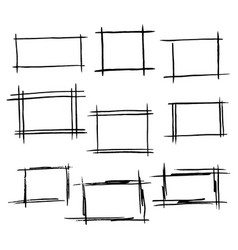 Rectangle frames set of hand drawn bor vector