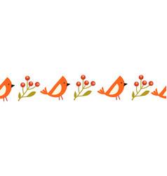 Red cardinal bird and mistletoe branches seamless vector