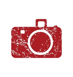 Red grunge camera logo vector