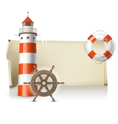 Retro banner with sea elements vector