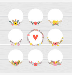romantic collection with floral round frames cute vector image
