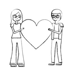 romantic couple holding big love heart vector image