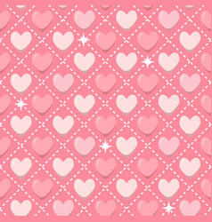 romantic seamless pattern with pink hearts in flat vector image