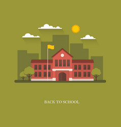 School building on green background vector