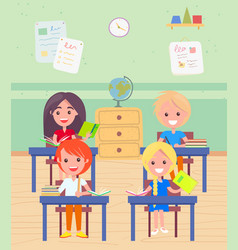 schoolboy and schoolgirl sitting desk at lesson vector image