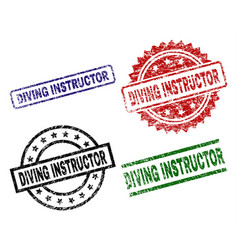 Scratched textured diving instructor stamp seals vector