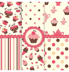 set cake patterns vector image