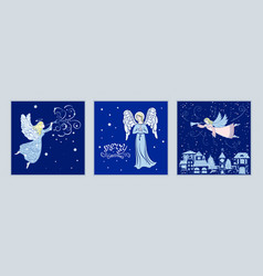 set of christmas cards with angels vector image