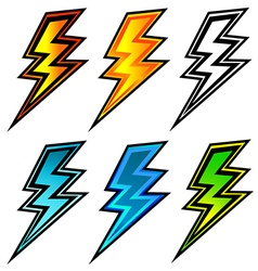 set of colorful lightning bolts vector image