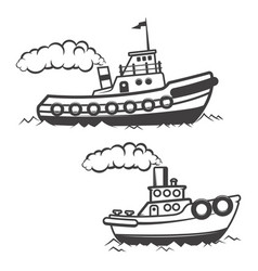 Set of tugboat isolated on white background boat vector