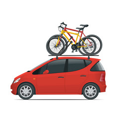 Side view flat mini car with two bicycles mounted vector