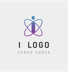 Space force logo design i initial galaxy rocket vector