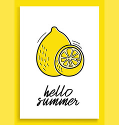 summer lemon inspirational card with doodles vector image