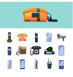 telephones old smartphones mobile gadgets vector image