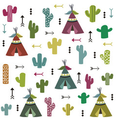 tent and cactus pattern vector image