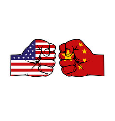 Trade war china and usa hands with flags vector