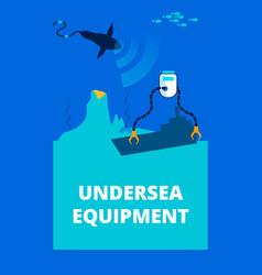 undersea equipment flat poster template vector image