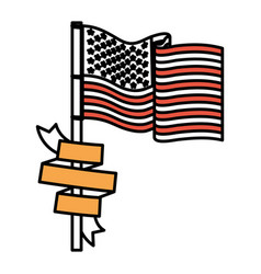United states flag with ribbon in pole color vector