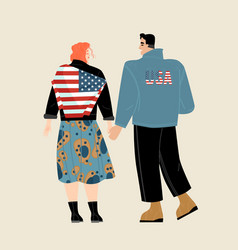Usa independence day with a young couple vector