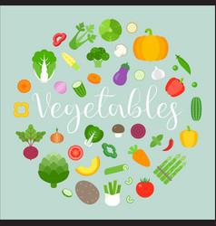 vegetables arrange in circle shape vector image
