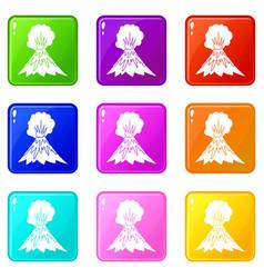 Volcano erupting icons 9 set vector