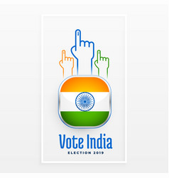 Vote indian election label design vector