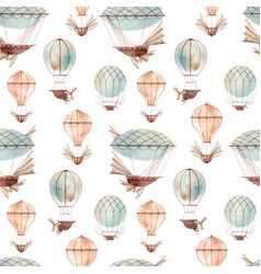 watercolor fairy aircrafts pattern vector image