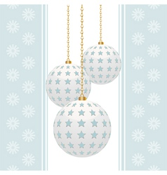 white christmas baubles with blue stars on a blue vector image