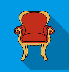 Wing-back chair icon in flat style isolated on vector