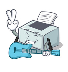 With guitar printer mascot cartoon style vector