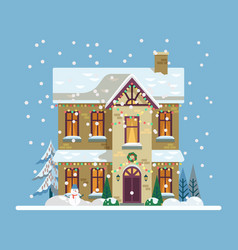 Yard with house decorated for 2019 new year xmas vector