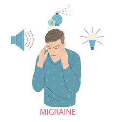 Young man suffering from migraine headache vector