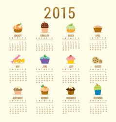 calendar 2015 cupcake cartoon cute vector image vector image