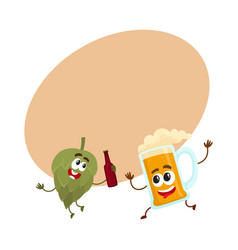 funny beer glass and hop characters having fun vector image vector image
