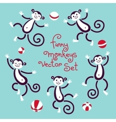Funny monkeys isolated set of vector image