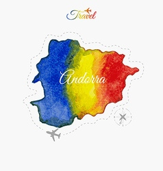 Travel around the world Andorra Watercolor map vector image