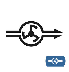 water pump icon with flow direction arrows vector image vector image