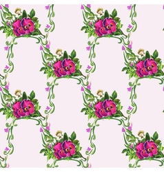 Watercolor pansy bouquet pattern vector