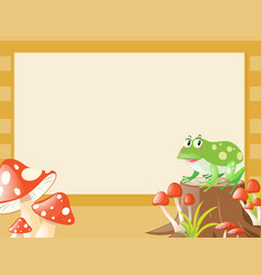 border template with frog and mushroom vector image