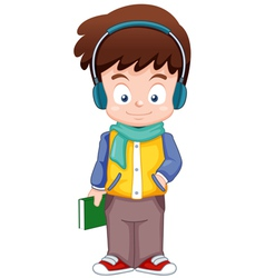 Cartoon Boy listen music vector image vector image