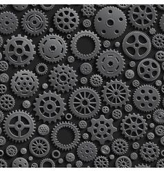 Creative Black Gears 3d Seamless Pattern vector image