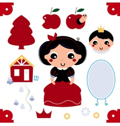 Cute snow white collection vector image vector image