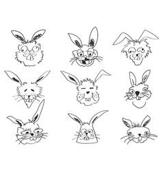 doodle funny rabbit face head vector image vector image